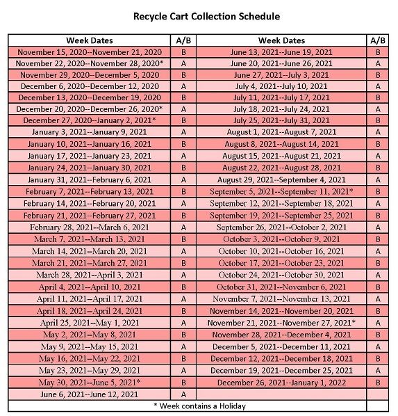 Nov 15, 2020 - Jan 1, 2022 Recycle Collection Schedule - for PW  website