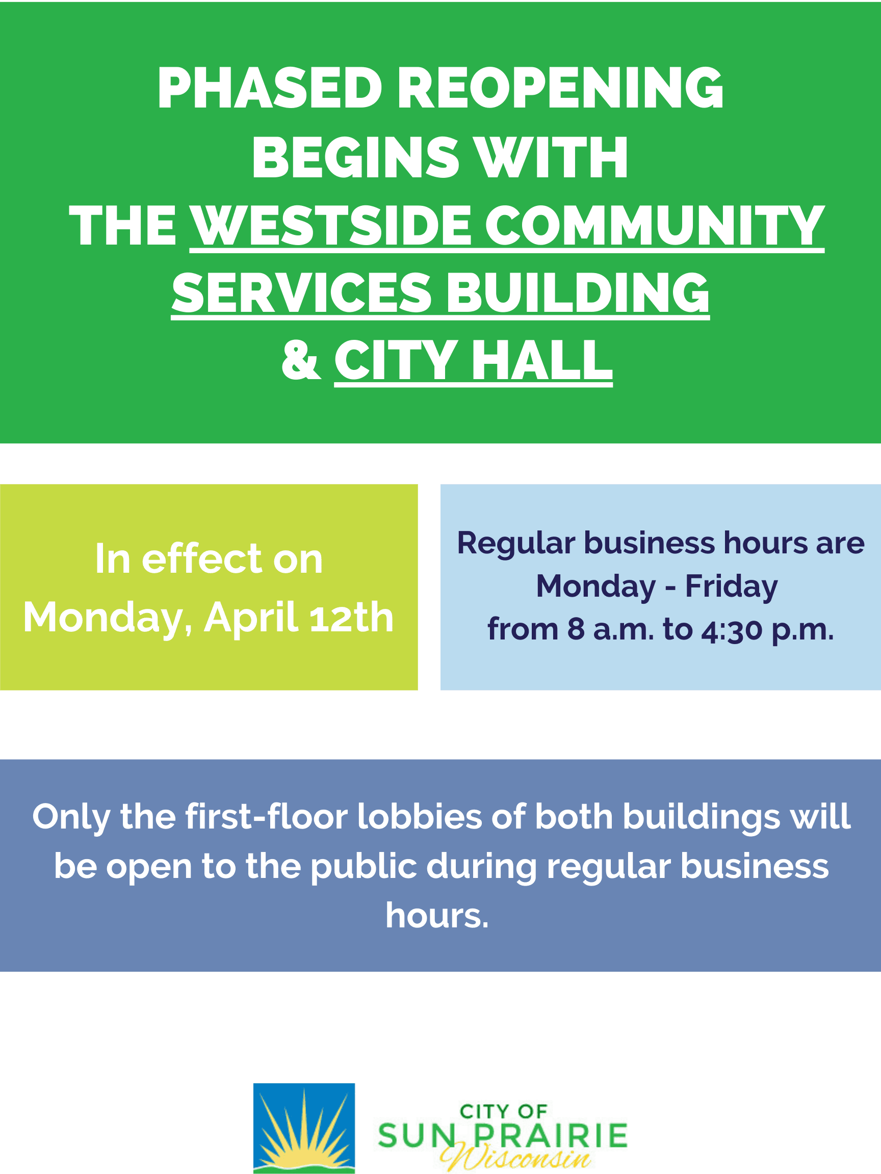 phased reopening begins with the Westside Community Services building and City hall