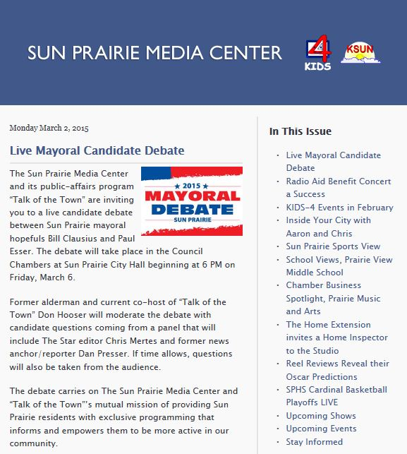 Sun Prairie Media Center Newsletter Screenshot