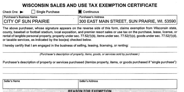 WI Sales and Use Tax Exemption Certificate Opens in new window