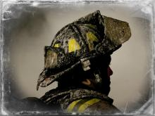Stoic photo of a firefighter