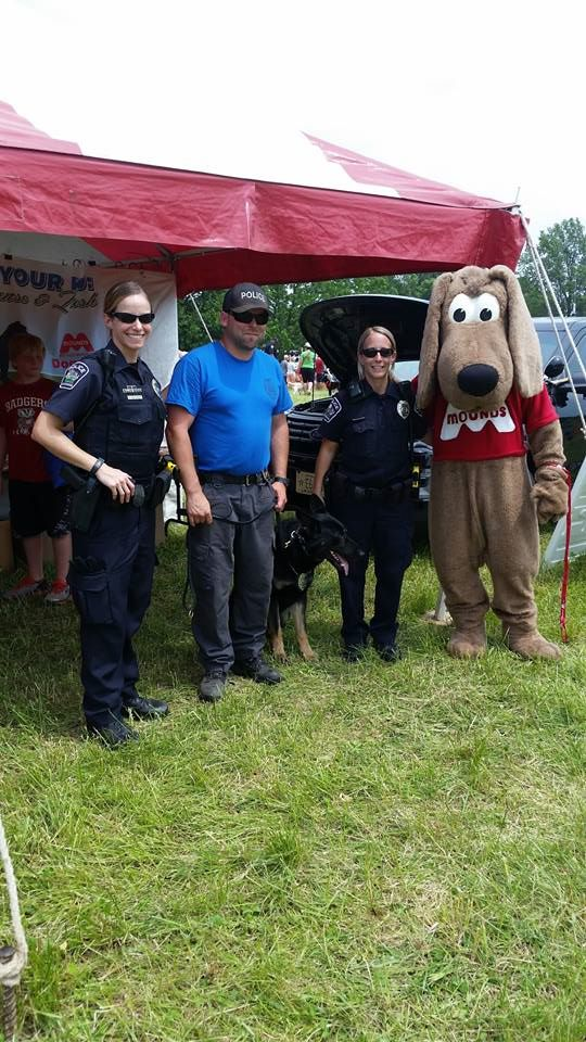 Officers Barbara Waldinger, Jennifer Nichols, Ben Pluim and K9 Lasko were at Mound&#39s Dog Fest thi