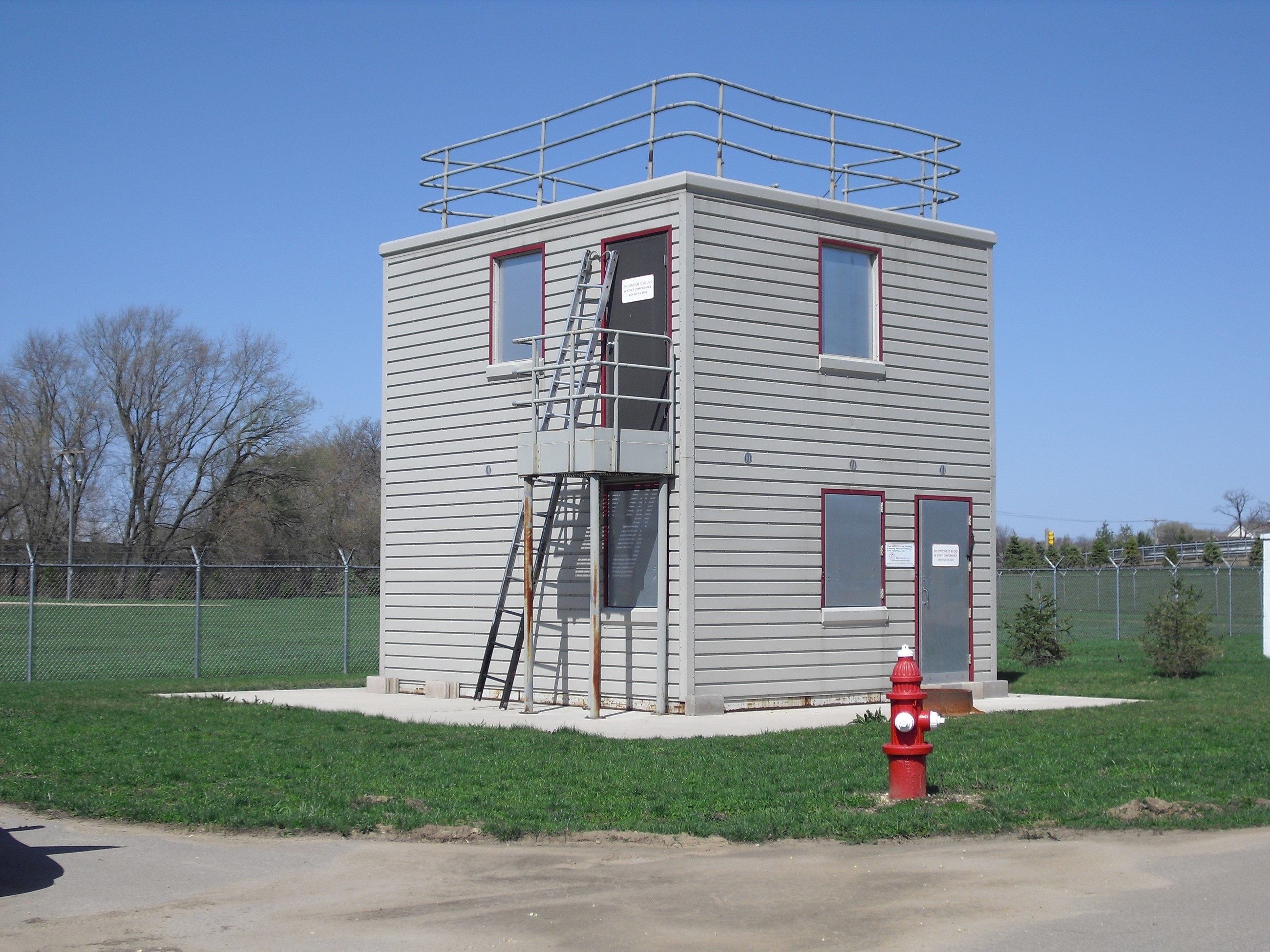 The burn tower located at the Fire Department