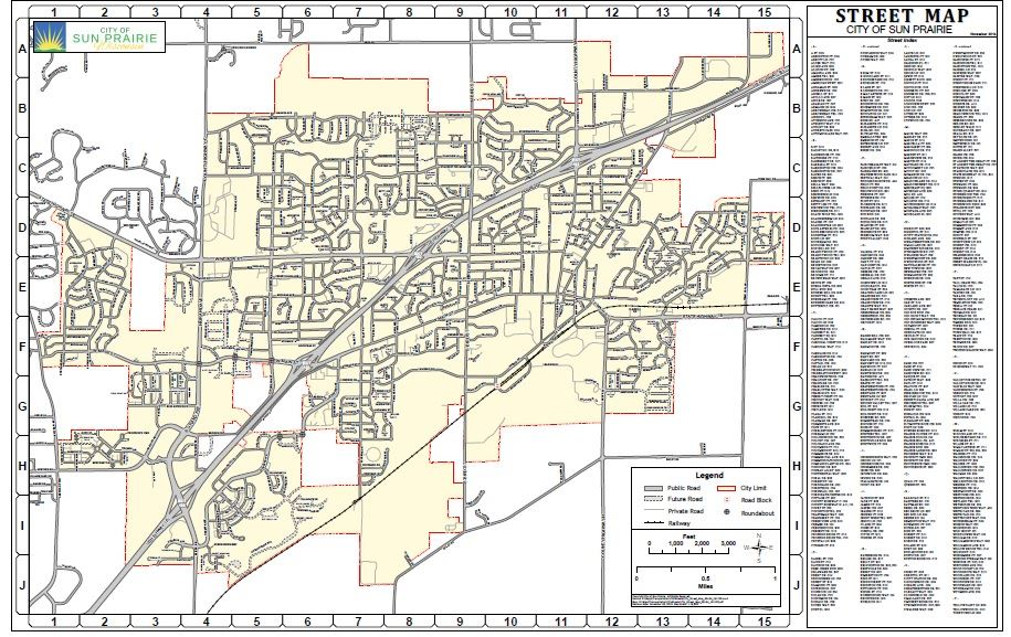 Sun Prairie city map