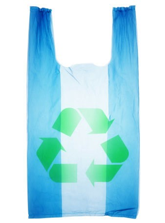 Plastic bag with the recycle logo