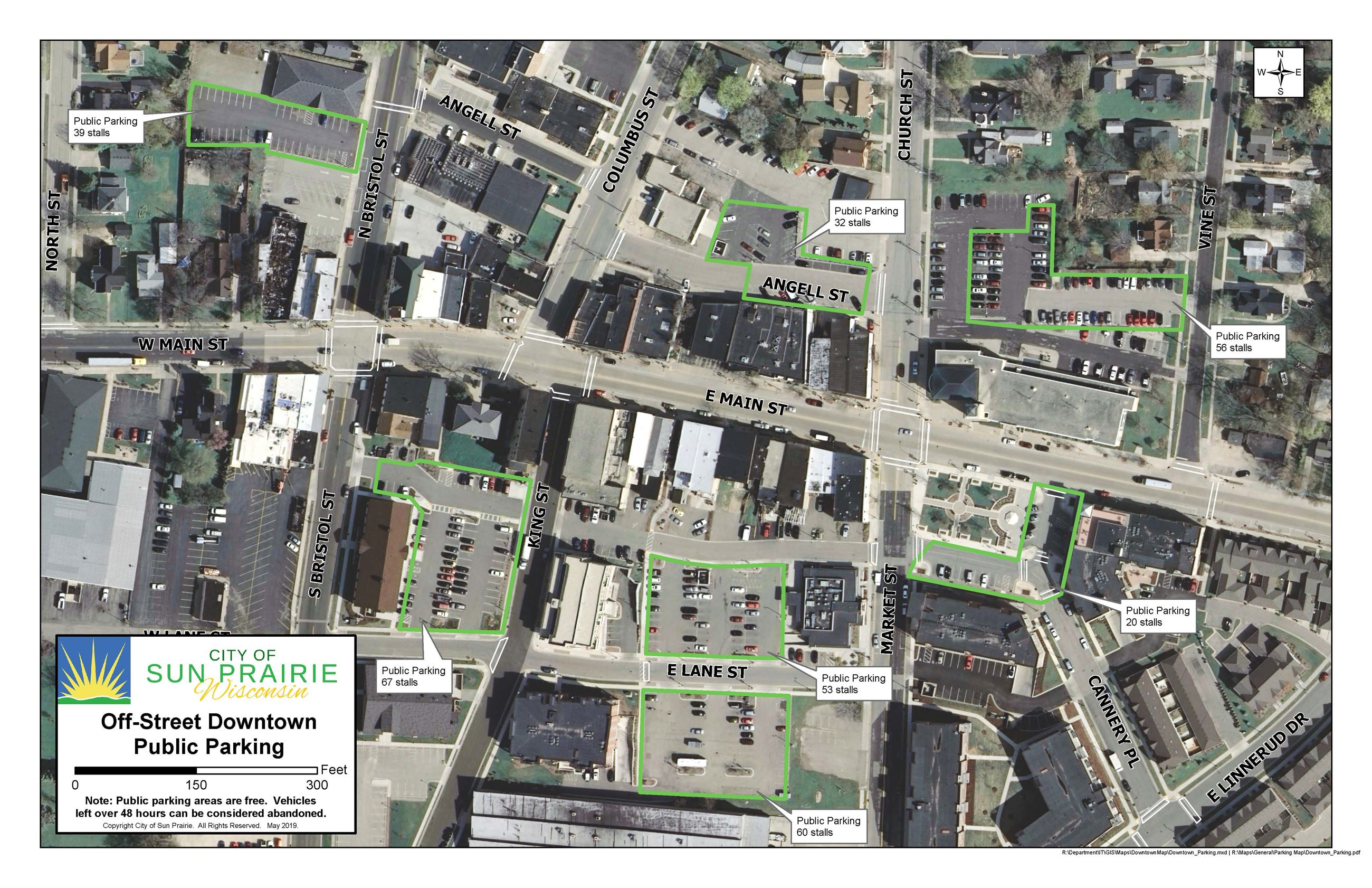 Downtown Sun Prairie Public Parking Lots updated 5.10.18