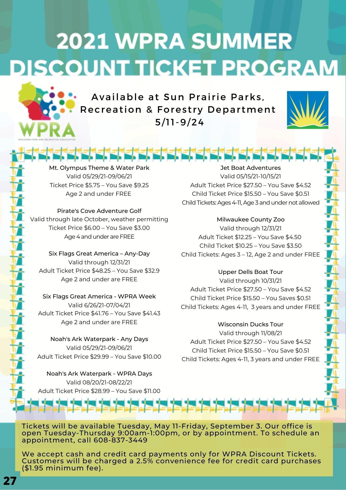 WPRA Summer Tickets
