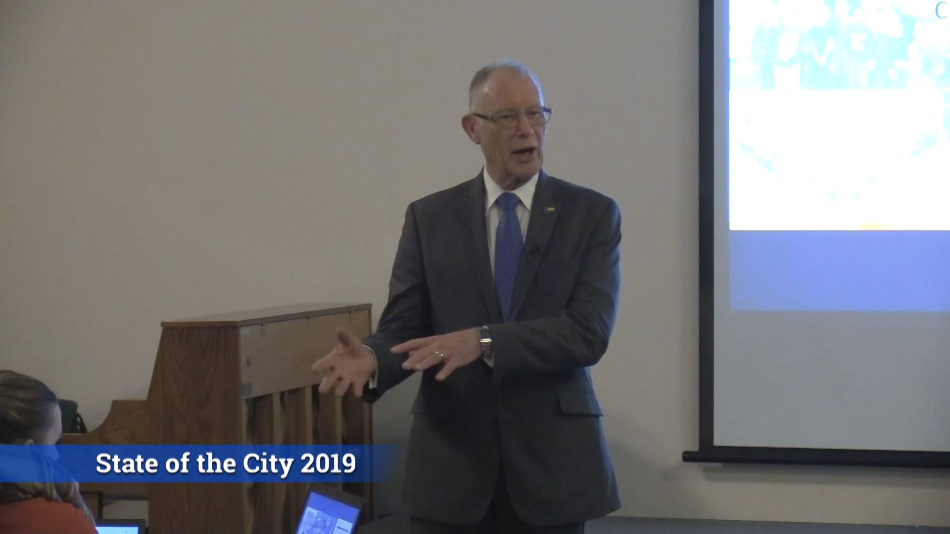 Mayor Esser presenting at State of the City