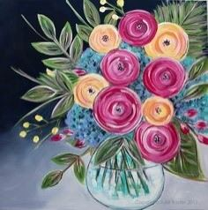 Paint Night Promotion: flowers in a vase