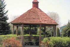 Gazebo in a wooded park area