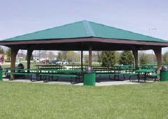 Picnic shelter and picnic tables in a park area